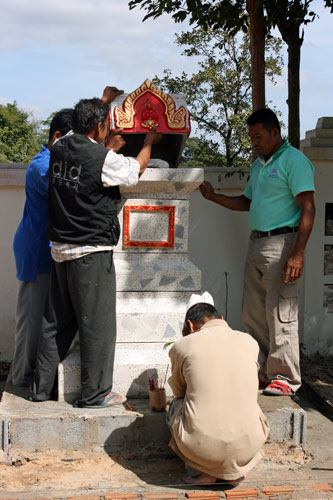 Placed urn in monument