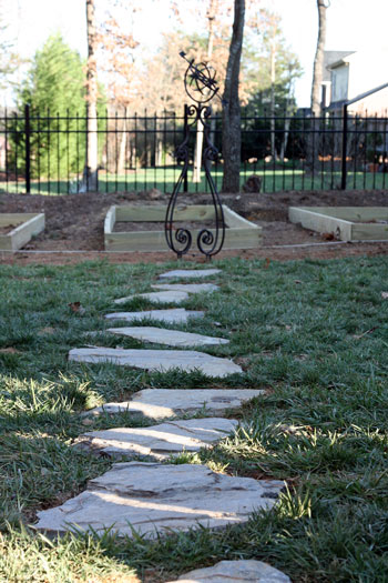 Walk way, and raised-beds