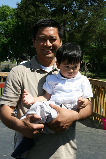 Lao guy with his son